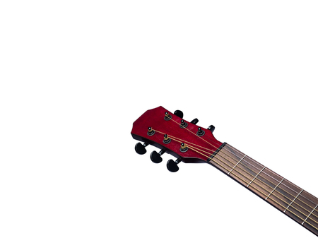 Acoustic  Neck Guitar, Red color, close up on white background