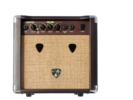 amp: Small acoustic guitar amplifier with pick guitar on amplifier mask, isolated on white background