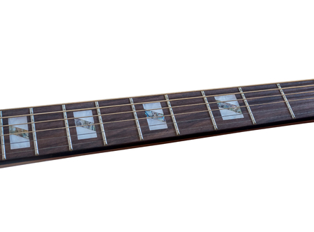 Inlay of guitur on fingerboard, selective focus
