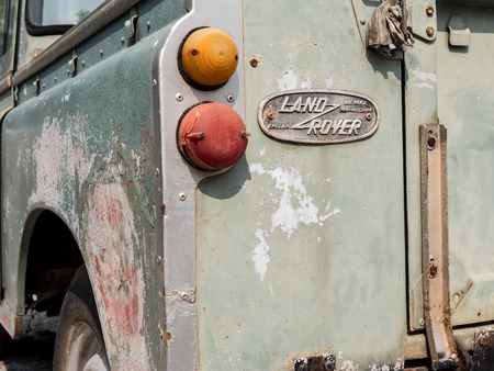 Thailand, Chonburi  : Land Rover series 3 front rear angle. Picture taken from the REAR to close up for the logo Land Rover , old condition , on February 27, 2017 in Chonburi.