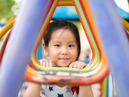Asian baby child girl playing on playground