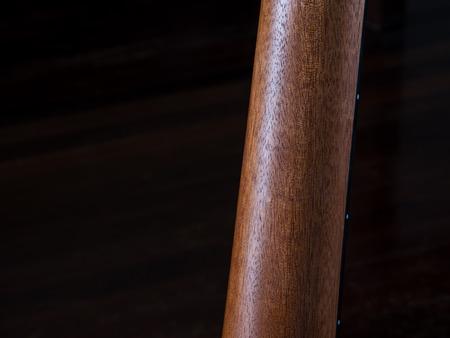 close up shot a neck of guitar, back side