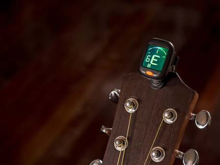 tuner for Guitar , E sound, sixth string, clip on guitar head