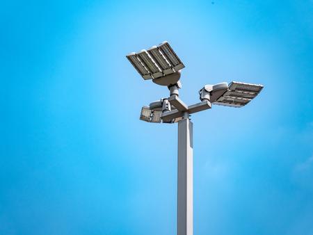 Poles led. Street light against the blue sky  copy space. Stock Photo