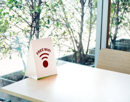 Free wifi sign label for Customer on the table in the fastfood restaurant