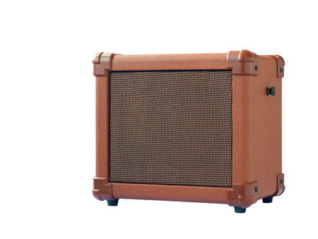 Small acoustic guitar amplifier isolated on white background Stock Photo
