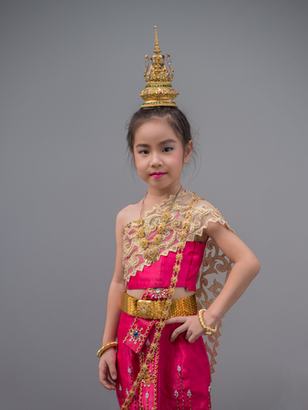 Asian little kid girl dress the Thai traditional dress , National Costumes,