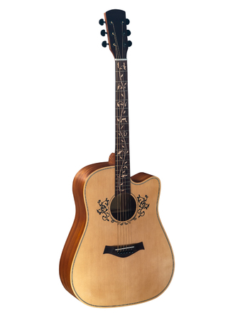 acoustic guitar, flower Inlay on Fingerboard around sound hole, with clipping path, isolated on white background