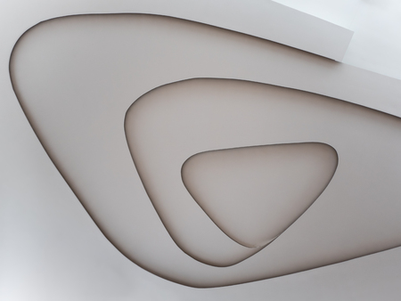 Abstract Architecture white celling design, Background in public building Imagens