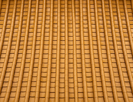 Chinese yellow temple roof detail , close shot