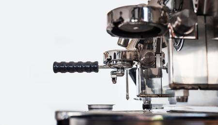 Espresso machine making coffee in coffee shop, Professional coffee brewing