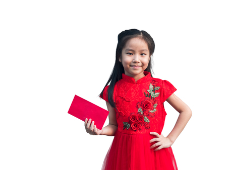 Cute Asian girl in chinese cheongsam and Tradition Chinese dress with red envelope , Chinese new year concept , white background Imagens