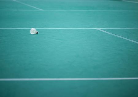 The shuttle cock in the badminton court, green  floor