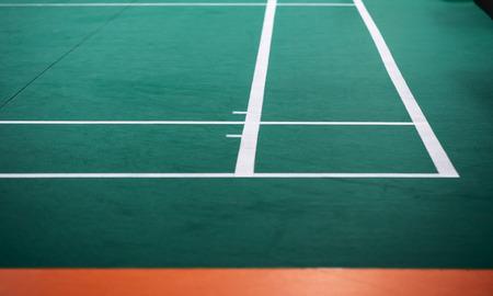 Indoor badminton court, selective focus Imagens