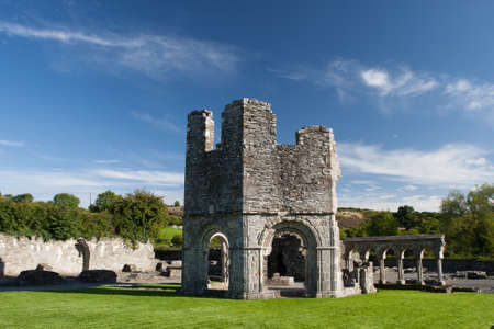 Mellifont Abbey located in County Louth (Ireland), the first Cistercian abbey which to be built in Ireland.  Stock Photo