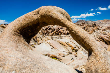Alabama Hills are a range of hills and rock formations near the eastern slope of the Sierra Nevada Mountains in the Owens Valley, west of Lone Pine in Inyo County, California. Stock Photo