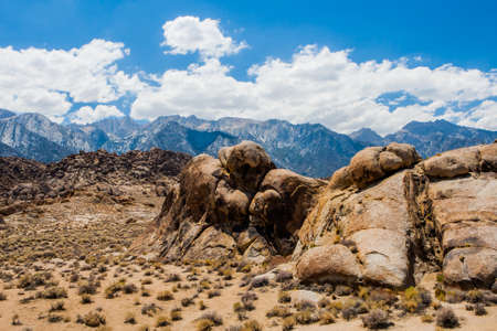 owens valley: Alabama Hills are a range of hills and rock formations near the eastern slope of the Sierra Nevada Mountains in the Owens Valley, west of Lone Pine in Inyo County, California. Stock Photo