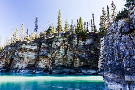 lightbeam: Athabasca Falls is a waterfall in Jasper National Park on the upper Athabasca River, Approximately 30 km south of the townsite of Jasper