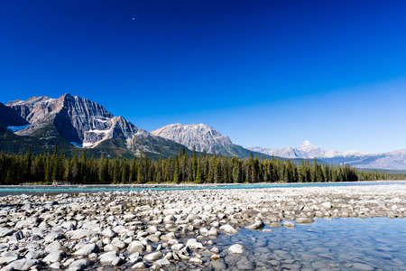 The Athabasca River originates from the Columbia Glacier of the Columbia Icefield in Jasper National Park, Alberta, Canada. photo