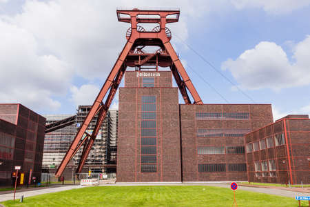 Essen, Germany - April 29, 2006: Mine shaft of Zollverein colliery and coal building in European Capital of Culture Essen in the Ruhr area Ruhr. Famous and big coal industrial memorial of former mining times. In the building is a museum about coal mines,