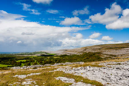 burren: Burren region, Clare, Ireland - August 23, 2010: The Burren measures 250 square kilometres and is enclosed roughly within the circle made by the villages of Ballyvaughan, Kilfenora and Lisdoonvarna. Stock Photo