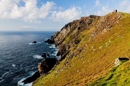 county kerry: Bruff, Valentia Island, County Kerry, Ireland - August 20, 2010: Sealine at Bruff, Valencia Island. Stock Photo