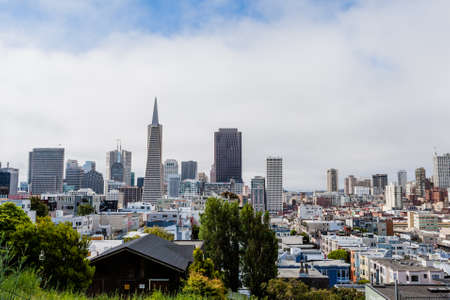 telegraph hill: SAN FRANCISCO - June 29 2012: Aerial View of Skyline Downtown area of San Francisco Editorial