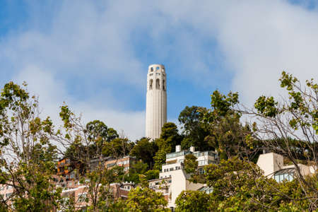 telegraph hill: SAN FRANCISCO - June 29 2012: Coit Tower is one of the most famous landmark in San Francisco Financial center.