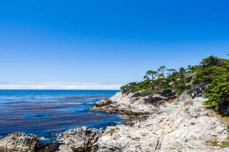pebble beach: Cypress Point, 17 Mile Drive, Big Sur, California, USA - July 1, 2012: The 17 Mile Drive is a scenic road through Pacific Grove and Pebble Beach in Big Sur, Monterey, California, USA. Stock Photo