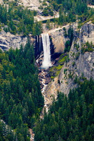 vernal: The Washburn Point offers a superb view of Yosemite National Park, Yosemite Valley, including Yosemite Falls, Half Dome, Vernal Fall, Nevada Fall, and Clouds Rest. Stock Photo