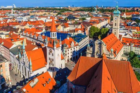 14th century: Heiliggeistkirche is a Gothic hall church in Munich, southern Germany, originally belonging to the Hospice of the Holy Ghost 14th century. Stock Photo