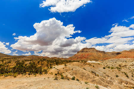 cloud formations: Landscape with nice Cloud Formations along Joshua Tree Road in the Mojave Desert near to the Scenic Backway.