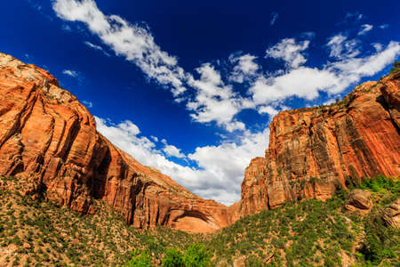 rock arch: Natural Rock Arch in Zion National Park, near scenic road.
