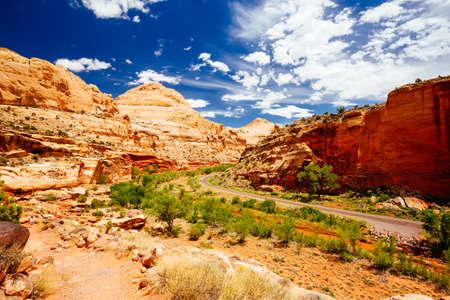 A road through Capitol Reef National Park. Photo taken along the trail to Hickman Bridge.