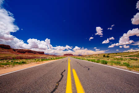 endless road: Highway 163, an endless road, naer Agathla Peak, Arizona, USA