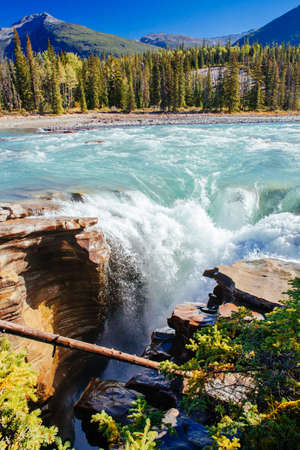 Athabasca Falls is a waterfall in Jasper National Park on the upper Athabasca River, approximately 30 kilometres south of the townsite of Jasper, Alberta, Canada, and just west of the Icefields Parkway.
