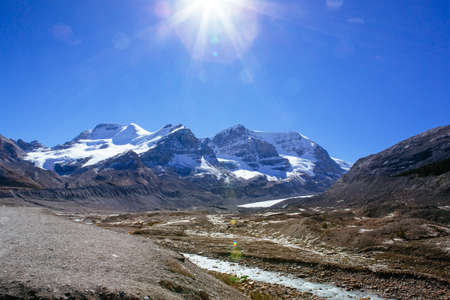 The Columbia Icefield is the largest ice field in the Rocky Mountains of North America. Stock Photo