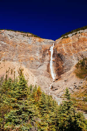 Takakkaw Falls is a waterfall located in Yoho National Park, British Columbia, in Canada. Its highest point is 302m from its base, making it the 45th tallest waterfall in western British Columbia.