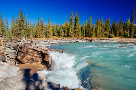 Athabasca Falls is a waterfall in Jasper National Park on the upper Athabasca River, approximately 30 km south of the townsite of Jasper, Alberta, Canada, and just west of the Icefields Parkway.