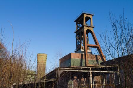 Abandoned Coal Mining Headframe  NRW Germany Stock Photo