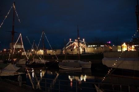 big top: The Harbour at Kiel at Night with a big top Editorial