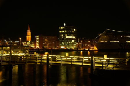 Kiel illuminated skyline at night with harbour and glowing sky Stock Photo - 17402607