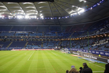 The famous Hamburg Football Arena as known as Volksparkstadion or HSV Arena durring the Game Hamburg HSV vs. Frankfurt Eintracht at 02022013