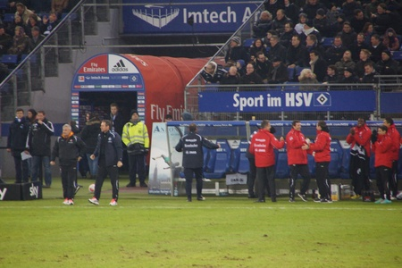 The coaches of Eintrach Frankfurt are celebrating a goal
