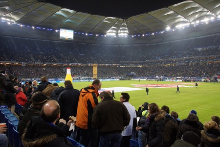 hsv: The famous Hamburg Football Arena as known as Volksparkstadion or HSV Arena durring the Game Hamburg HSV vs. Frankfurt Eintracht at 02022013 Editorial