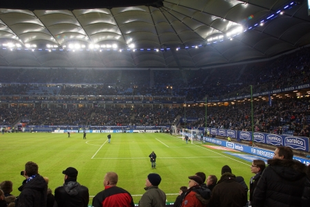 The famous Hamburg Football Arena as known as Volksparkstadion or HSV Arena durring the Game Hamburg HSV vs. Frankfurt Eintracht at 02022013 報道画像