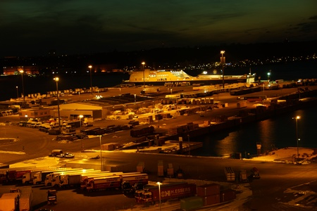 kiel: The Eastabnk Port in Kiel at DawnNight Editorial