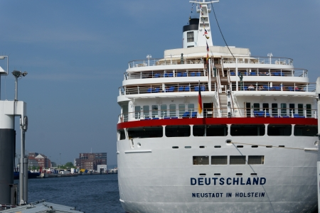 The cruise ship MS Deutschland, also known as Das Traumschiff\ moored in the port city of Kiel\