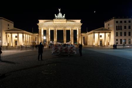 quadriga: The Brandenburg Gate with the Quadriga at Night