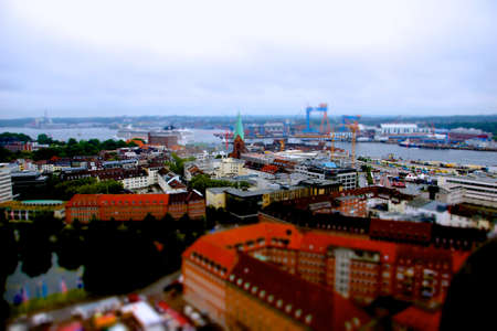 kiel fjord: Pictures made with tilt shift during the Kieler Woche from the Town Hall Tower